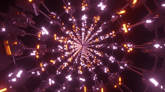 Túnel redondo com luzes brilhantes ilustração 3d 4k uhd