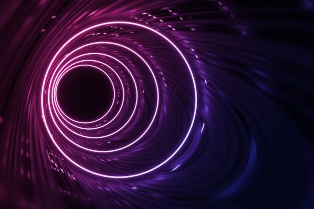 Túnel redondo com paredes reflexivas e iluminação de néon círculo ilustração 3d