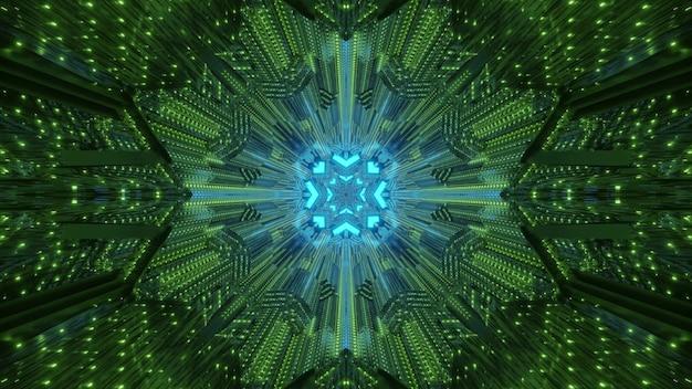 Túnel simétrico abstrato com paredes de cristal iluminadas com luz neon verde