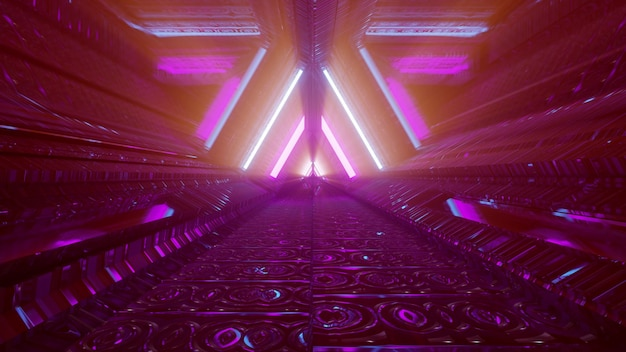 Túnel subterrâneo futurista com luzes de néon 4k uhd ilustração 3d