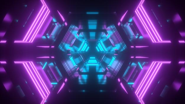Túnel tecnológico na cor rosa azul com renderização 3d de reflexos