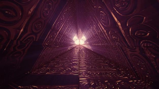 Túnel triangular com desenho geométrico em relevo 4k uhd ilustração 3d