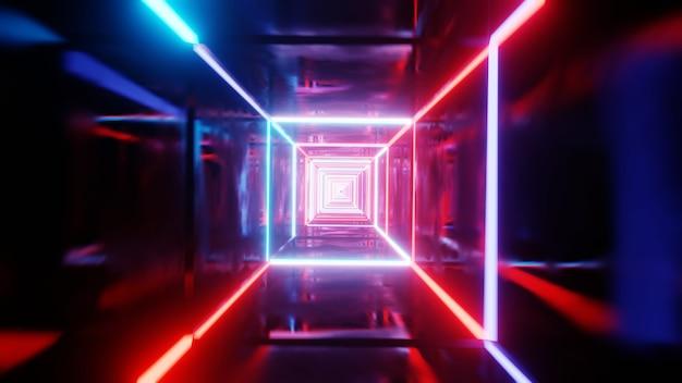 Túnel vj com luz neon. ilustração 3d render.