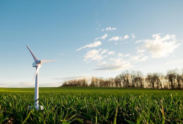 Turbina eólica de brinquedo em um campo de trigo verde