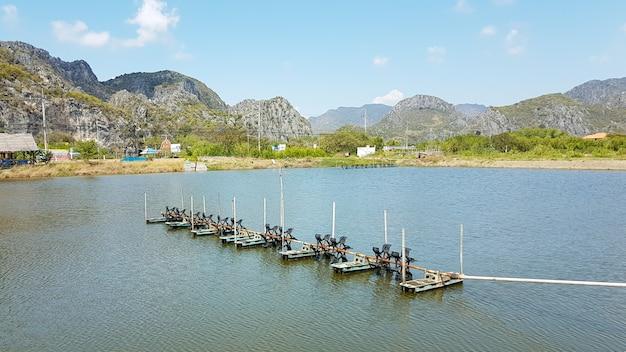 Turbinas de água no tanque de peixes