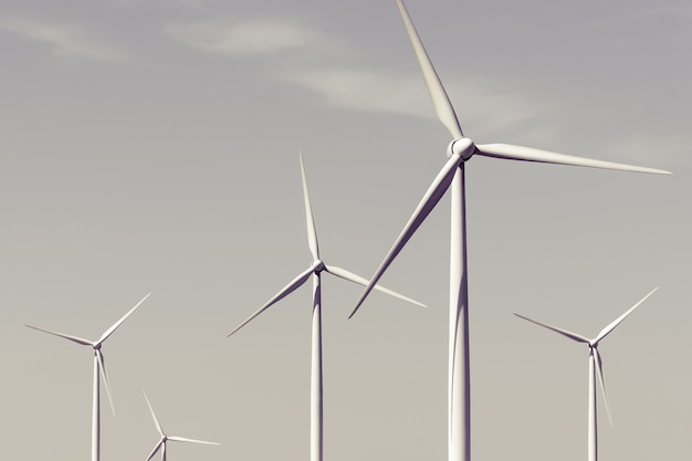 Turbinas eólicas contra o céu