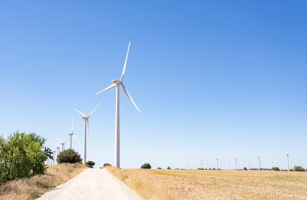 Turbinas eólicas e campos agrícolas em um dia de verão