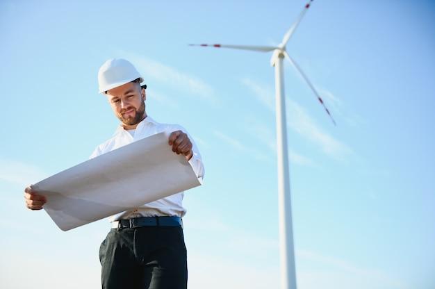 Turbinas eólicas gerando eletricidade. conceito de conservação de energia.