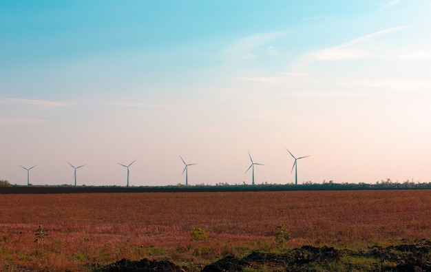 Turbinas eólicas para a produção de eletricidade a partir do vento em um campo no sul da rússia