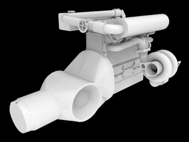 Turbo car engine moderno isolado no espaço preto. renderização em 3d.
