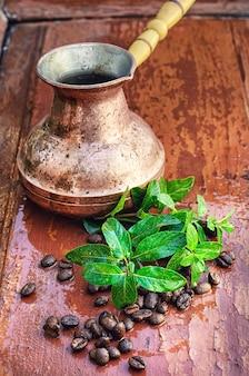 Turco e grãos de café