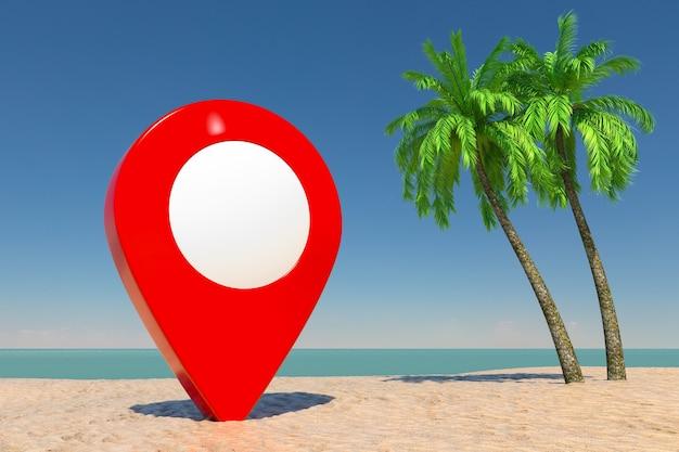 Turismo e conceito de viagens. ponteiro de pino de alvo vermelho na praia de paraíso tropical com areia branca e coqueiros em um fundo de céu azul. renderização 3d