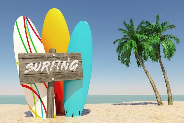 Turismo e conceito de viagens. pranchas de surf de verão colorido com placa de direção de madeira do surf em tropical paradise beach com areia branca e coqueiros em um fundo de céu azul. renderização 3d