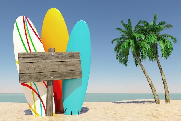 Turismo e conceito de viagens. pranchas de surf de verão colorido com placa de direção de madeira em branco em tropical paradise beach com areia branca e coqueiros em um fundo de céu azul. renderização 3d