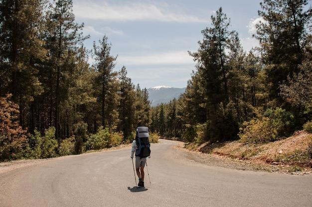 Turismo feminino caminha em uma estrada da floresta