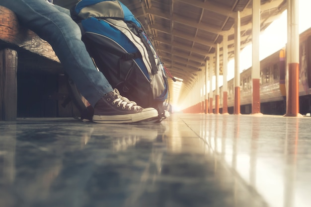 Turismo, saco, esporte, pessoas, ferrovia, fim de semana