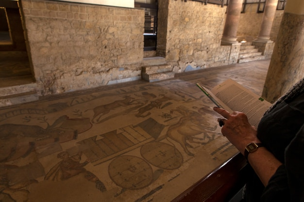 Turista com mapa olhando os mosaicos na villa romana del casale, piazza armerina
