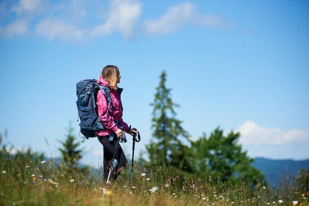 Turista de jovem desportivo com mochila e bastões de trekking, de pé no topo de uma colina, olhando para longe, aproveitando o dia ensolarado nas montanhas.