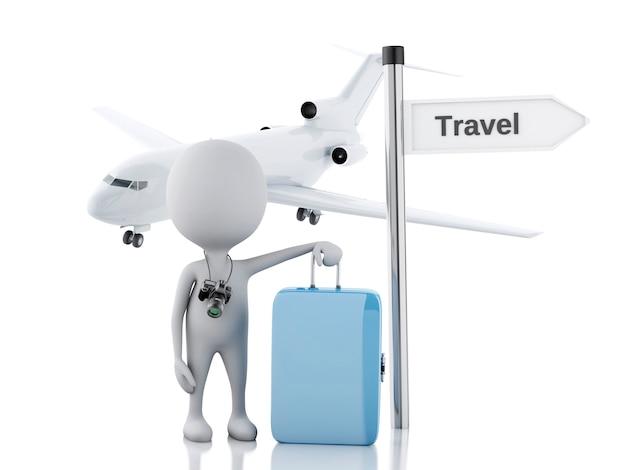 Turista dos povos 3d brancos com malas de viagem e a câmera. conceito de viagem