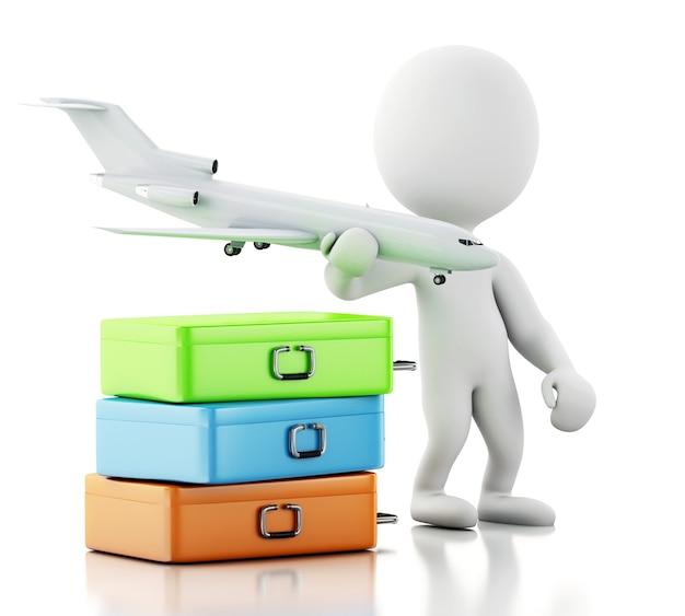 Turista dos povos 3d brancos com malas de viagem e um avião. conceito de viagem