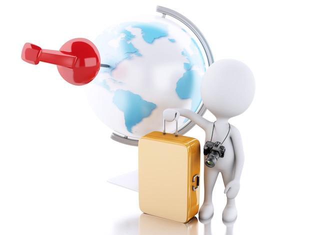 Turista dos povos 3d brancos e globo do mundo. conceito de viagem