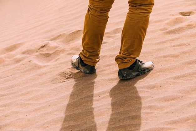 Turista na paisagem do deserto