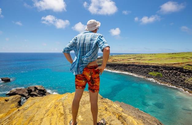 Turista no topo de um penhasco com vista para a grande ilha do havaí
