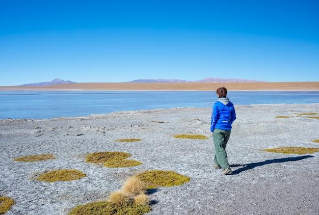 Turista que olha a paisagem impressionante do lago congelado salgado nos andes
