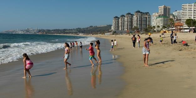 Turistas, desfrutando, a, praia, vina del mar, chile