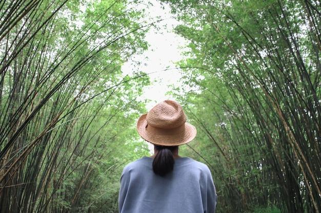 Turistas do sexo feminino vendo a árvore de bambu do túnel e o fundo da passagem.