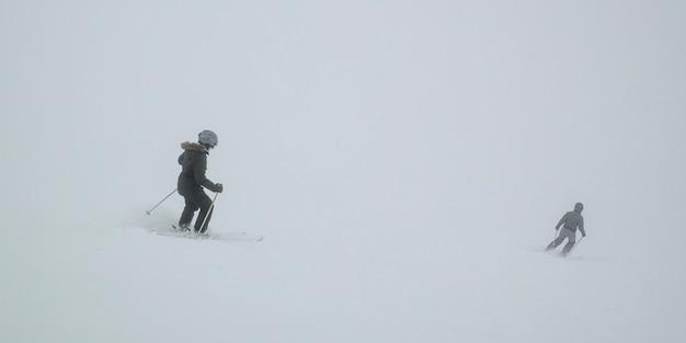 Turistas, esquiando, whistler, blackcomb, vancouver, columbia britânica, canadá