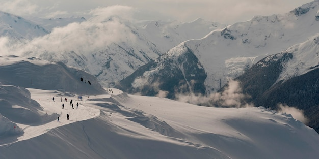 Turistas, esquiando, whistler, columbia britânica, canadá