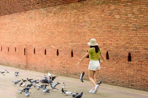 Turistas gostam de caminhar e no antigo muro e fosso da cidade de phae gate chiang mai
