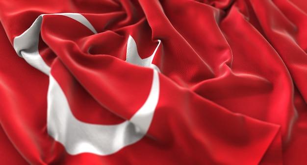 Turquia flag ruffled beautifully waving macro close-up shot