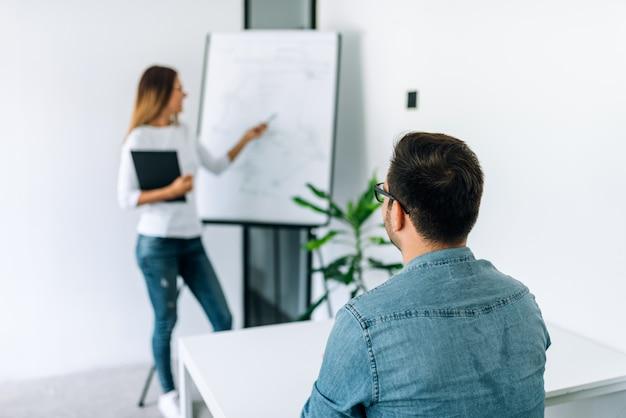 Tutor profissional conduzindo aula particular em flipchart para um aluno.