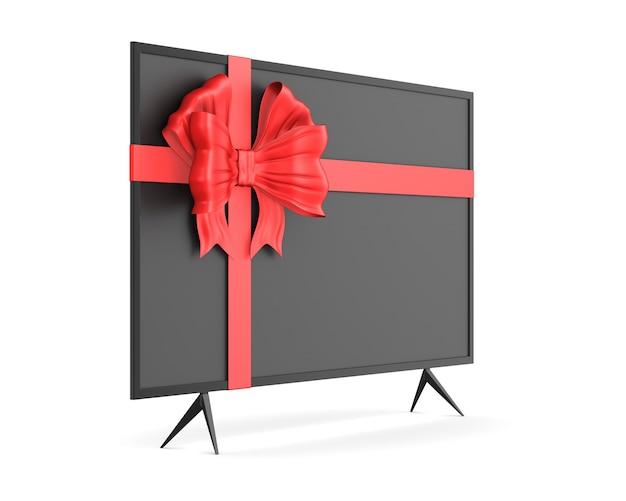 Tv com laço em fundo branco. ilustração 3d isolada