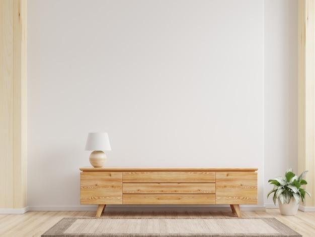 Tv de gabinete, prateleira em sala vazia moderna, design minimalista, renderização em 3d