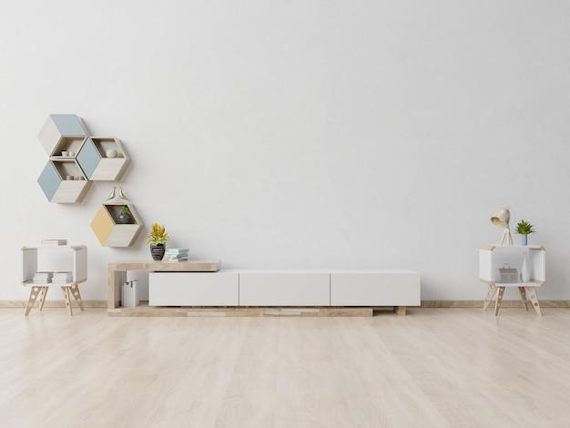 Tv de prateleira no quarto vazio moderno
