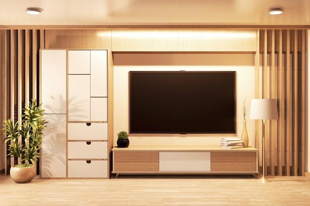 Tv inteligente na parede e armário estilo japonês de madeira na sala minimal.3d rednering