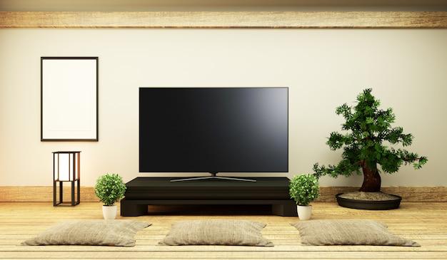 Tv japão smart tv na mesa baixa no quarto estilo japonês com lâmpada e bonsai.