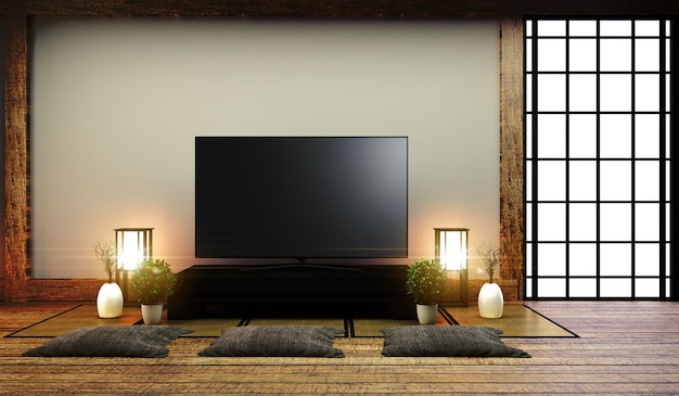 Tv japão - smart tv na mesa baixa no quarto estilo japonês com lâmpada e bonsai.