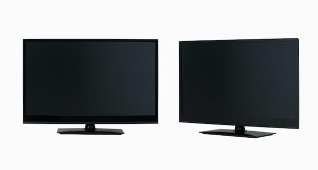 Tv lcd de tela plana moderna em duas posições em um fundo branco