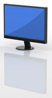Tv lcd moderna isolada sobre um fundo branco com reflexão.
