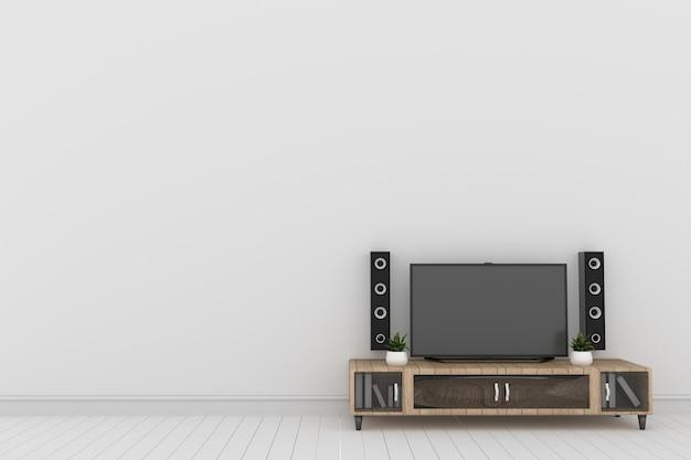 Tv na parede branca em design de interiores moderna sala de estar, renderização em 3d