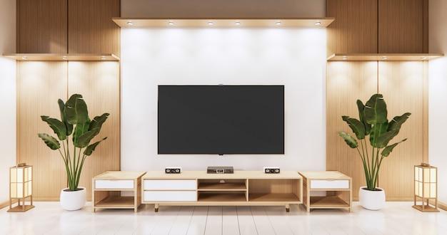 Tv na parede vazia e parede com design japonês de madeira na sala de estar estilo zen