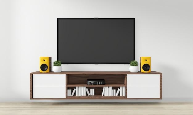 Tv no armário design de madeira na moderna sala vazia japonês - estilo zen, design minimalista. renderização em 3d