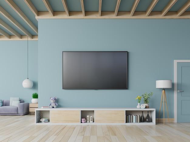 Tv no armário na moderna sala de estar na parede azul, renderização em 3d