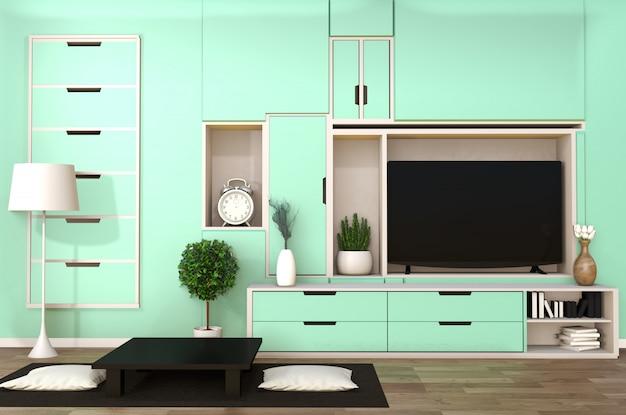 Tv no armário na sala moderna japonesa