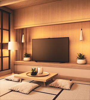 Tv no design japonês de madeira da parede de madeira vazia no estilo zen de sala de estar. renderização 3d