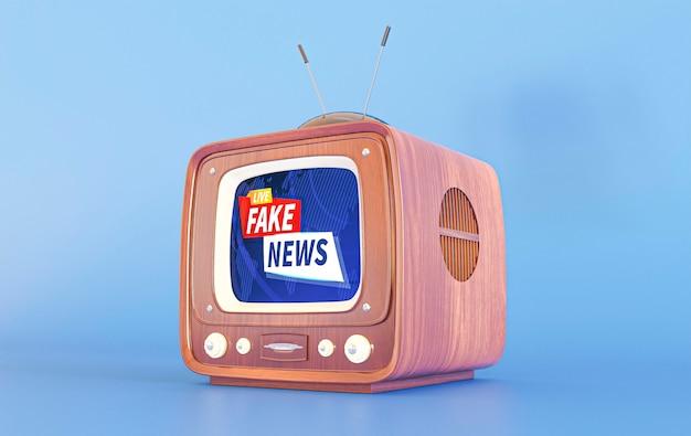 Tv retrô com notícias falsas